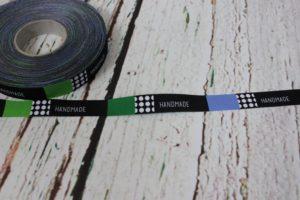 "Blaubeerstern Webband ""Handmade - Rectangles"" Breite: 15 mm"