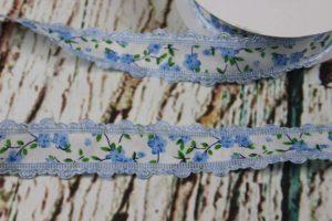 """Stoffband """"Blumen"""" - babyblau 100% Polyester"""