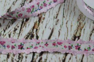 """Stoffband """"Blumen"""" - rosa 100% Polyester"""
