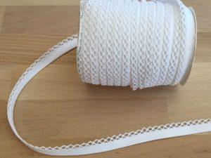 Schrägband mit Häkelkante - weiß 50% Polyester 50% Baumwolle