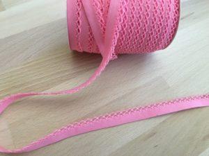 Schrägband mit Häkelkante - rosa 50% Polyester 50% Baumwolle