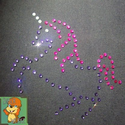 Strassbügelbild Einhorn lila/pink