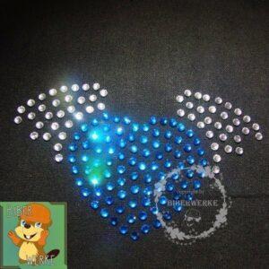 Strassbügelbild Herz mit Fluegeln blau/kristall