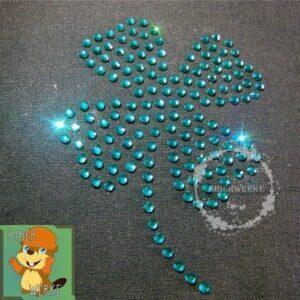 Strassbuegelbild Kleeblatt emerald