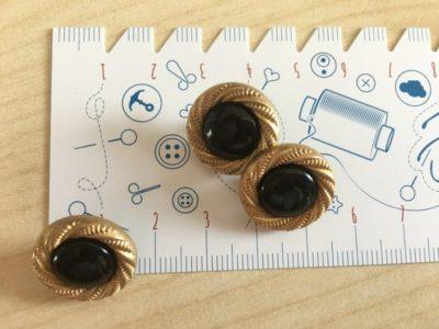 Knopf mit Goldknoten , 17 mm - schwarz