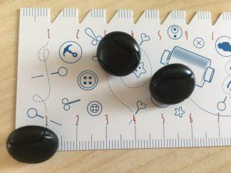 Knopf in Lederknopf-optik , 15 mm - schwarz