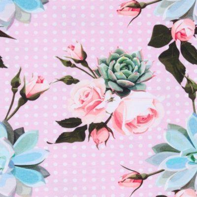 Jersey - Rosen auf Punkten - rosa