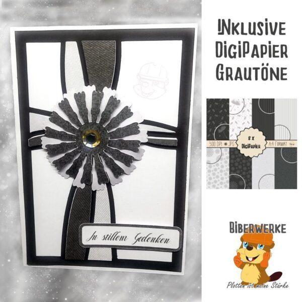 Biberwerke Trauerkarte Blume + DigiPapier Grautöne