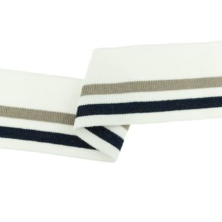 Cuff Bündchen gestreift mit Lurex, 110 x 7 cm - ecru / taupe