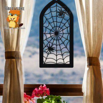 Biberwerke Fensterbild Spinnennetz