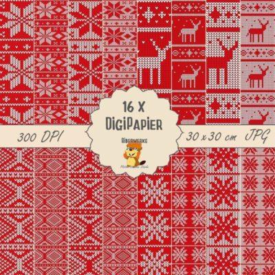 Biberwerke DigiPapier Norwegermuster Rot