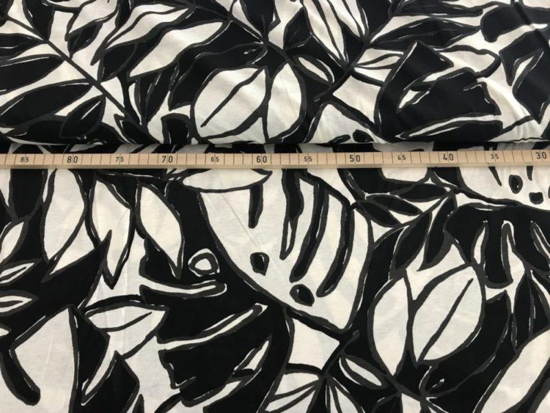 Viskose Jersey Blätter - black & white