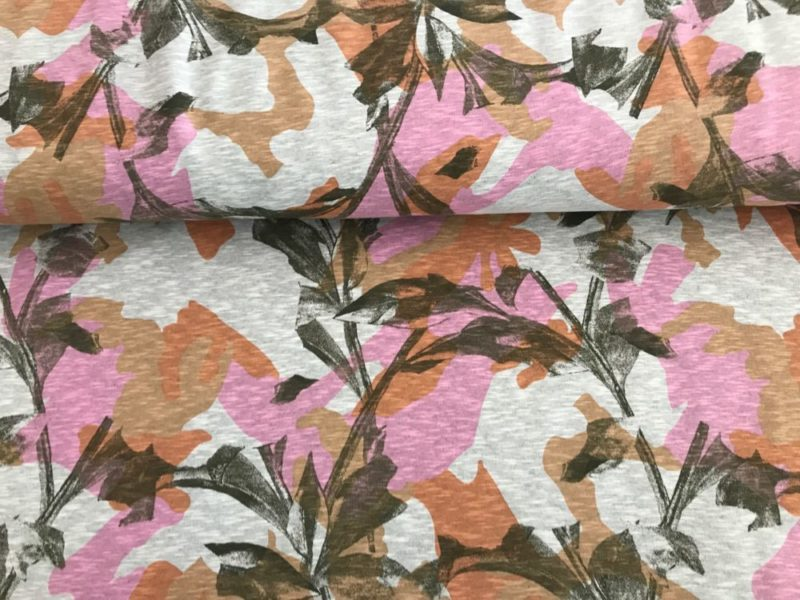 Sommersweat Flowers - meliert (Extra breit)