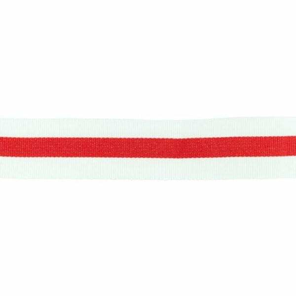 Ripsband / Retro Stripes - 30 mm - weiß rot