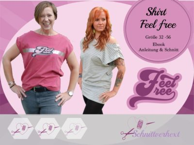 "Ebook Shirt ""Feel free"" - Gr. 32 - 56"