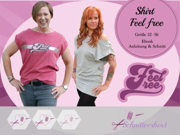 "Ebook Shirt ""Feel free"" - Gr. 32 - 56"