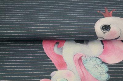 Jersey - Unicorn & Swan Panel - dunkelblau