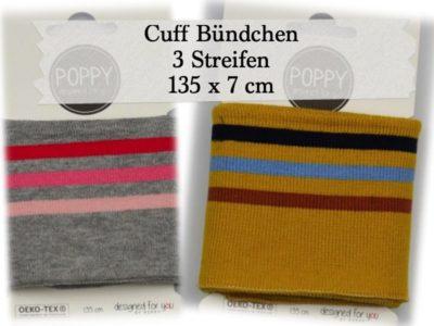 Cuff Bündchen mit 3 Streifen, 135 x 7 cm (versch. Farben)