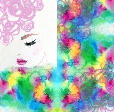 Panel watercolor woman