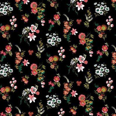 Baumwolle Popelin - Flowery - schwarz