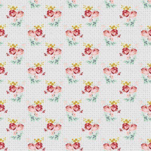 Baumwolle Popelin - Charming Roses - grey