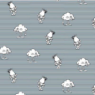 Baumwolle Popelin - Trolls - Stripes - navy