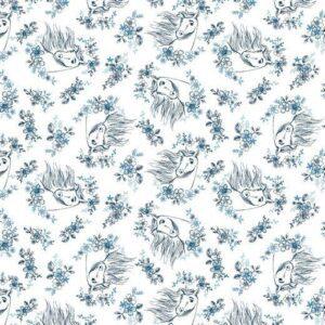 Baumwolle Popelin - Flower Spirit Kopf - weiß