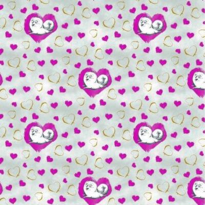 Baumwolle Popelin - Pets - Hearts - grey