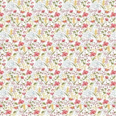 Baumwolle Popelin - Flower - weiß