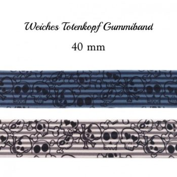 Weiches Totenkopf Gummiband - 40 mm