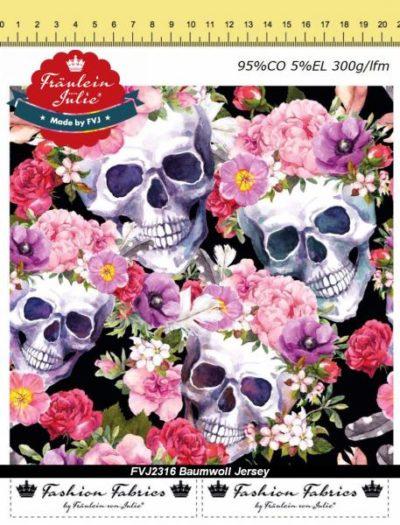 Baumwoll Jersey - Skulls & Roses