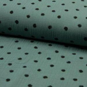Musselin Baumwolle Dots - dusty green