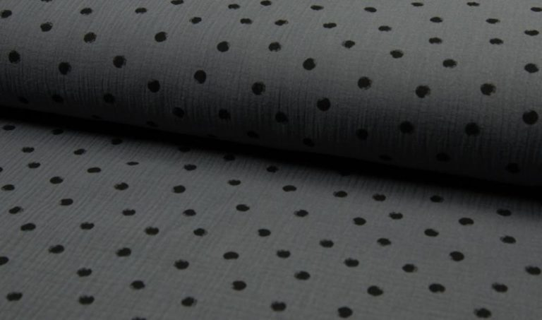Musselin Baumwolle Dots - dunkelgrau