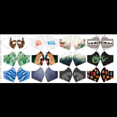 Baumwolle Popelin mit 12 vorgedruckten Mundmaskenmustern - Men - Version 1