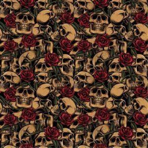 Baumwolle Popelin - Skulls with Roses