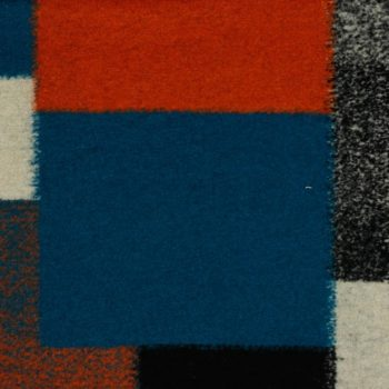 Mantelstoff Patchwork - orange / petrol