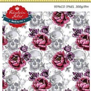 Baumwoll Jersey - Roses & Skulls