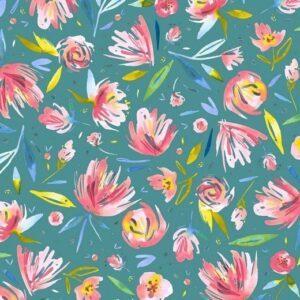 Sommersweat - Flowers - petrol