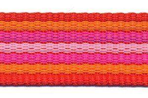 Gurtband - gestreift - 25 mm - rot orange pink rosa